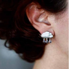Women Jewelry Fashion Cute Cloud Raindrop Drop Pearl Earrings Silver