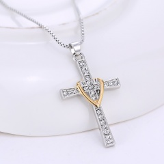 Fashion Gold Silver Cross Pendant Necklace Crystal Chain Charm Jewelry Gold