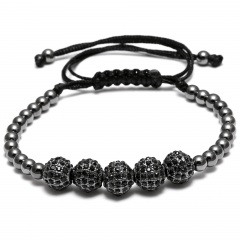 Hand-Woven Bracelet Men's Jewelry Black Rope Round Bead Adjustable Handmade Bracelet Black