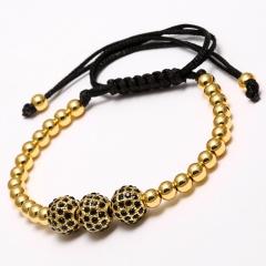 Rinhoo Brand Handmade Round Copper Beads Bracelets Fashion Jewelry Black Woven Rope Bracelet Women Bracelet Men Gift Gold