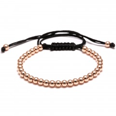 Rinhoo Trendy Handmade Brand Men Bracelet Macrame Jewelry 4mm Copper Beads Braided Strand Woven Charm Bracelets & Bangles for Men Women Rose gold