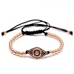 Rinhoo Handmade Beads Evil Eye Braided Macrame Charm Wrap Cord Beaded Bracelet Bangles Adjustable Rope Jewelry For Men Women Rose gold