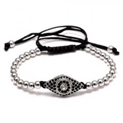 Rinhoo Handmade Beads Evil Eye Braided Macrame Charm Wrap Cord Beaded Bracelet Bangles Adjustable Rope Jewelry For Men Women Silver