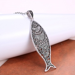 Fashion Silver Elephant Leaf Fish Pendant Necklace Chain Charm Jewelry Fish
