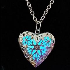Vintage Hollow Silver Heart Moon Owl Glow In The Dark Luminous Pendant Necklace Heart