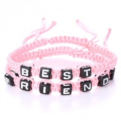 Rinhoo 2pcs Couples Bracelet Set Friendship Bracelet Set BEST FRIENDS Handmade Bracelet Set Infinity Jewelry for Women Men pink