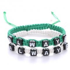 Rinhoo 2 pieces/set Lover Jewelry Handmade Woollen Sweater Bracelets Always Forever Letter Bangle women men Couple Bracelet green+white