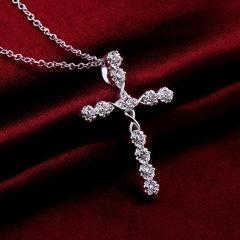 925 Silver Women Crystal Holy Jesus Cross Pendant Necklace Jewelry Cross