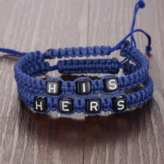 Rinhoo 2pcs Infinity Couples Bracelets Set Letters His & Hers Bracelet Set Infinity Handmade Bracelet Set Jewelry For Women Men royal blue+royal blue