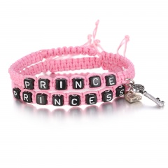 Fashion Handmade Rope With Letter Beads Couple Hand-Woven Bracelet Pink