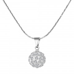 Silver Chain with Ball Necklace Dangle Charm Necklace Wholesale White