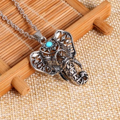 Fashion Silver Elephant Leaf Fish Pendant Necklace Chain Charm Jewelry Elephant
