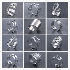 Fashion Gold Silver Iron Sheets Open Rings Simple Rings Jewelry Silver-Cross