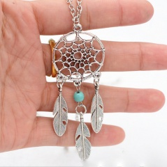 Retro Boho Dream Catcher Turquoise Feather Pendant Tassel Chain Necklace Jewelry 1