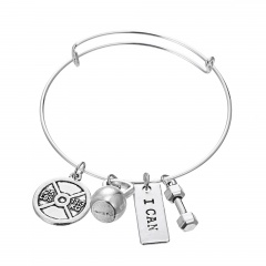 Rinhoo 1PC SRONG IS BEAUTIFUL and I CAN Engraved Dumbbell Pendant Bracelet For Men's Fashion Jewelry Gift I CAN