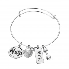 Silver Fitness Sports Power Belief Bangle Jewelry ME vs ME