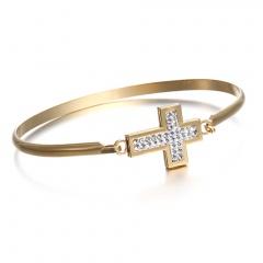 Oval high-grade Cross Heart Mather stainless steel bracelet For Women Gold Circle Square Shape For Women Girls Best Gift Bangle 4