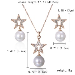 Crystal  Pendant Necklace Earrings Jewelry Set Wedding Bridal Party Prom Gold Star