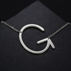 Fashion Silver Women Stainless Steel Alphabet Initial Letter Pendant Chain Necklace A-Z G