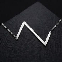 Fashion Silver Stainless Steel Letting Necklace Jewelry Wholesale Z