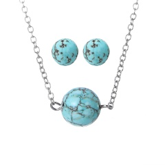 Fashion Turquoise Necklace Earring Jewelry Set Wholesale Silver