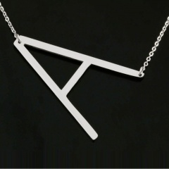 Fashion Silver Women Stainless Steel Alphabet Initial Letter Pendant Chain Necklace A-Z C