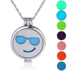 Fashion Stainless Steel Face Aromatherapy Locket Oil Diffuser Necklace Style 6