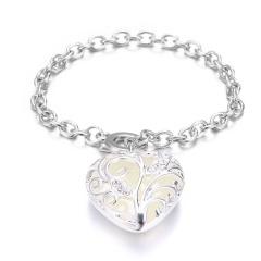 Rinhoo 1PC Simple Alloy Heart Shape Pendant Link Chain Bracelet Glow in the Dark Fashion Jewelry Gift For Women Blue
