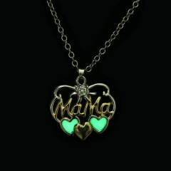 Fashion Gold Silver Map Heart Pendant Necklace Chain Charm Choker MaMa Heart