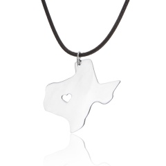 American Map Shape Stainless Steel Pendant Necklace Texas