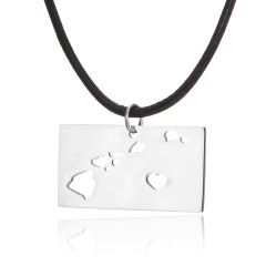 Fashionable United States Map Stainless Steel Pendant Necklace Hawaii