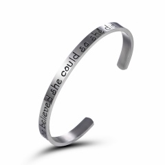 She Believed She Could So She Did Free Engrave Bracelet Customize Fashion Lettering Opening Stainless Steel Bracelet Jewelry Silver