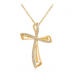 Fashion Personality Cross Gold Plated Alloy With Stone Necklace Cross