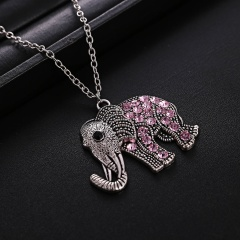 Fahsion Crystal Elephant Pendant Necklace Gifts Elephant