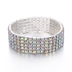 5 Rows-Elastic Bracelet Full Crystal Rhinestone Bangle Womens Wedding Bridal Jewellery Silver