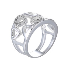 Fashion Hollow Love Ring Alloy Zircon Plating True White Gold Ring Jewelry 6