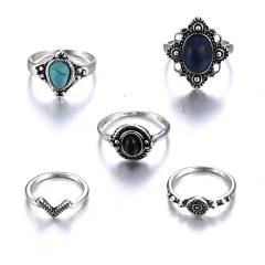 5pcs set turquoise Rings Women Fashion JEWELRY 5pcs
