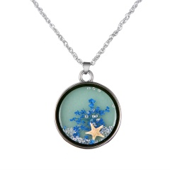 Fashion Glass Dried Flower Starfish Luminous Silver Alloy With Glass Necklace Blue