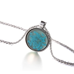 Fashion Glass Dried Flower Starfish Luminous Silver Alloy With Glass Necklace Sky Blue
