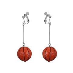 Fashion basketball long dangle ear clip earrings basketball