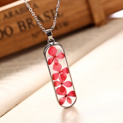 New Natural Dried Flower Glass Pendant Necklace Women Lady Wedding Lover Jewelry Rectangle Red