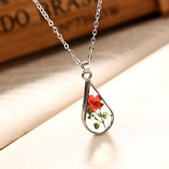 New Natural Dried Flower Glass Pendant Necklace Women Lady Wedding Lover Jewelry Water Drop Red 3