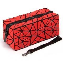 Geometric Frosted Folding Bao-Linge Makeup Bag Hand Bag20*8.5*8.5cm Red