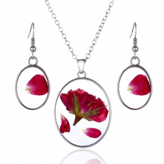 Natural Flower Pendant Necklace Earrings Jewelry Set Flower 1