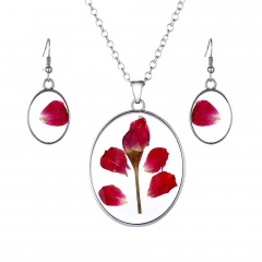 Natural Flower Pendant Necklace Earrings Jewelry Set Flower 2