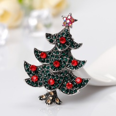 Antique Vintage Style Multicolor Rhinestone red Crystal Merry Christmas Tree Brooch Pins Christmas Day Gift tree