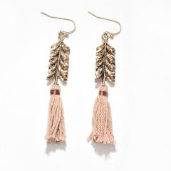 Bohemian vintage leaf-shaped long tassel earrings pink