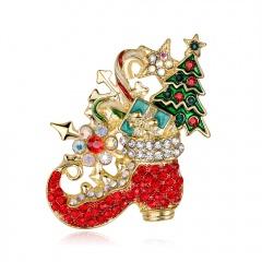 Rhinestone Crystal Christmas Brooch Pin Jewelry Christmas Brooch
