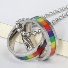 Women Men Stainless Steel Rainbow Pendant Necklace LGBT GAY Couple Jewelry Gifts Rainbow Rings