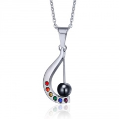 Fashion Rainbow Stainless Steel Crystal LGBT PRIDE Homosexual Pendant Necklace Harp
